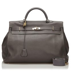 Hermès-Hermes Gray Clemence Kelly 50-Other,Grey