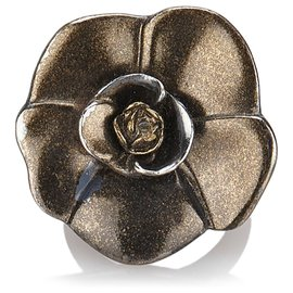 Chanel-Chanel Brown Camellia Ring-Brown,Bronze