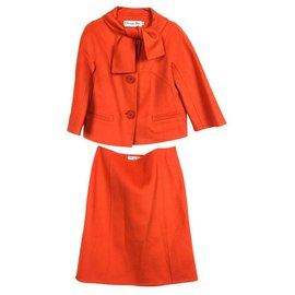 Christian Dior-Jupe en cachemire orange-Orange