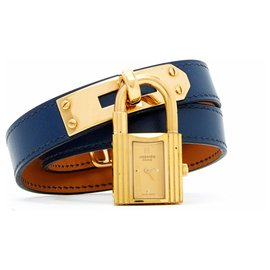 Hermès-KELLY lined TOUR BLUE GOLD-Blue,Golden