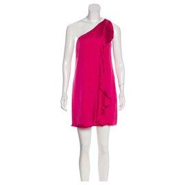 Halston Heritage-One shouldered silk dress-Pink