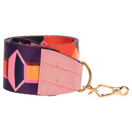 Autre Marque-Superb shoulder strap in mottled canvas and pink Porosus Crocodile leather, new condition!-Multiple colors