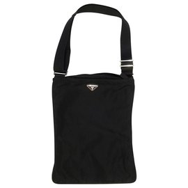 Prada-PRADA Crossbody Bag Nylon Crossbody Bag Messanger Bag Black Unisex-Black