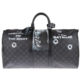 Louis Vuitton-Superb BATBAG customized by Patbo on Louis Vuitton Keepall 55 eclipse new condition!-Black