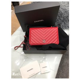 Chanel-Chain wallets-Red