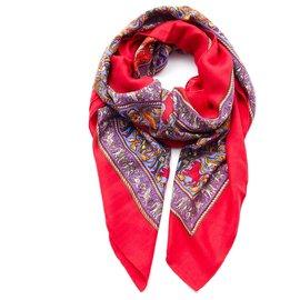 Hermès-cachemire 140 Hunting in India-Red,Orange,Purple