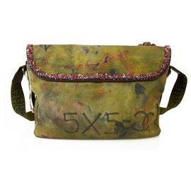 Chanel-ChanelGraffiti Sur Le Pavement Sac édition limitée Khaki Canvas Messenger Bag-Kaki