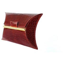 Hermès-Hermès Clutch Bag Pouch Minaudière Handbag Brown Crocodile Ghw-Light brown