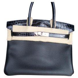 Hermès-birkin 30 cuir et crocodile-Noir
