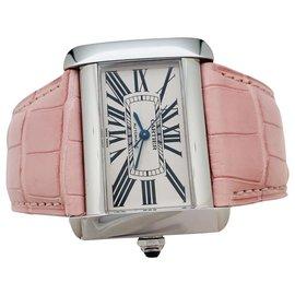 """Cartier-Montre Cartier """"Divan"""" en acier sur cuir.-Autre"""