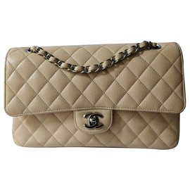 Chanel-Medium timeless classic lined flap bag-Beige