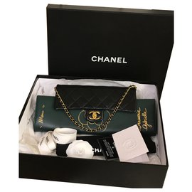 Chanel-Collectors Menu Flap Clutch  bag with card-Black,Green,Dark green