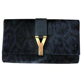 Yves Saint Laurent-Chyc-Noir,Imprimé léopard,Bleu foncé