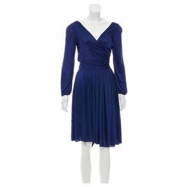 Halston Heritage-Asymmetric cocktail dress-Blue