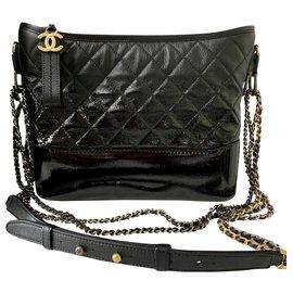 Chanel-Grand sac hobo GABRIELLE de CHANEL EN CUIR DÉGRADÉ NOIR-Noir