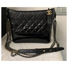 Chanel-GABRIELLE de CHANEL large hobo bag IN BLACK DEGRADE LEATHER-Black