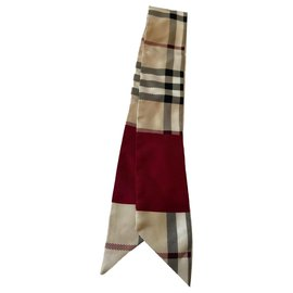 Burberry-Silk scarves-Red,Beige