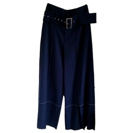 Céline-Pants, leggings-Navy blue