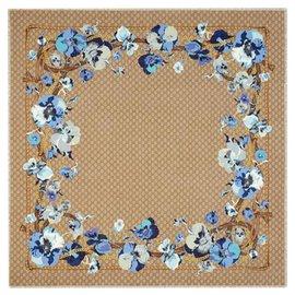 Gucci-gucci blue beige scarf new floral-Blue,Beige