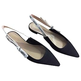 Dior-DIOR J'adior nouvelles ballerines en cuir et tissu NOIR-Noir