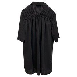 Lanvin-Top stretch en soie noire-Noir