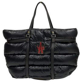 Moncler-Black padded and quilted nylon travel bag tote-Black