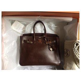 Hermès-Very beautiful Hermes Birkin 35 in Evergrain Havana-Brown