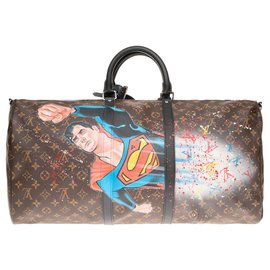 "Louis Vuitton-SuperBag ""Superman I on"" Louis Vuitton 55 Macassar Crossbody Customized by PatBo!-Brown,Black"