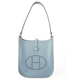 Hermès-Hermes Mini Evelyne TPM Blue jeans Epsom Shoulder bag with Palladium Hardware-Light blue