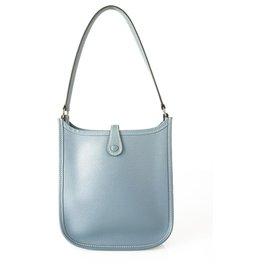 Hermès-Sac à main Hermes Mini Evelyne TPM jeans bleu Epsom avec matériel Palladium-Bleu clair