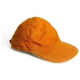 Hermès-Rare Hermes Paris Chapeaux Motsch Pour Orange Cap Hat Size 59 Cotton/Modal-Orange