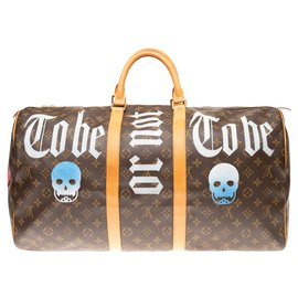 "Louis Vuitton-Louis Vuitton Keepall 55 Monogram ""Be or not to be"" customized by PatBo!-Brown"