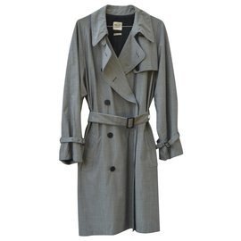 Hermès-Trench coat in wool and silk-Grey