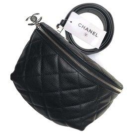Chanel-Chanel bag black belt , Black grained leather , neuf-Black