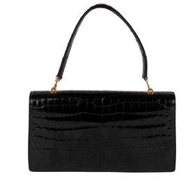 Hermès-Très beau Hermès Palonnier vintage en Crocodile du nil noir, bijouterie dorée !-Noir