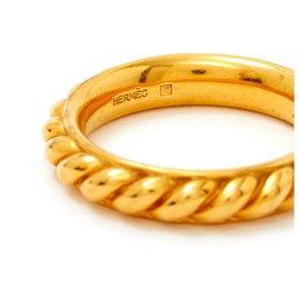 Hermès-RING GODRONS-Golden