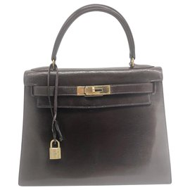 Hermès-Hermes Kelly bag 28 cm in leather box-Brown