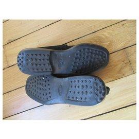 Tod's-Tod's, black velvet calf leather boots, 38,5.-Black