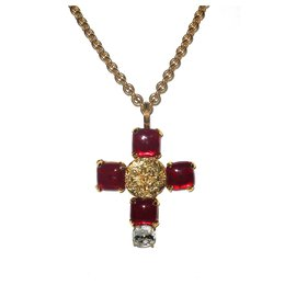Chanel-Chanel vintage pendant 1993 super cross-Red,Golden