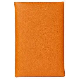 Hermès-Calvi verso card holder hermes-Orange