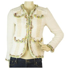 Chanel-Chanel Cuba 2017 Off white Tweed Wool Jacket multicolor trim & golden buttons 38-Cream