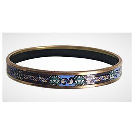 Hermès-Bracelet Hermès en Plaqué Or et Émail tons Bleu /vert-Bleu clair
