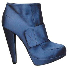 Lanvin-bottines Lanvin cuir et satin pointure 39-Bleu