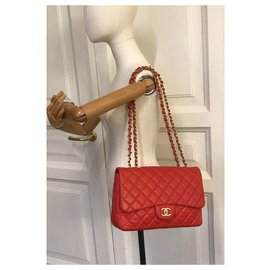 Chanel-Limited Jumbo Flap Bag w/matte HW Chanel box, Dust Bag-Red,Orange