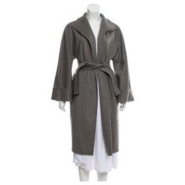 Max Mara-Manteau drapé gris cachemire-Gris