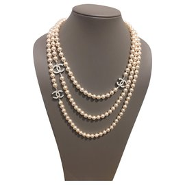 Chanel-Long necklaces-Silvery,Eggshell