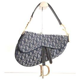 Dior-Dior Saddle Canvas Oblique Blue-Blue