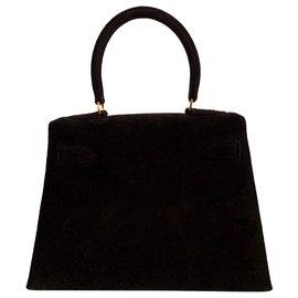 Hermès-Hermes Kelly 20 Veau Doblis Noir-Noir
