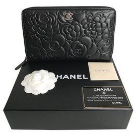 Chanel-Chanel wallet Camellia , black lamb , neuf-Black