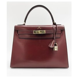 Hermès-Kelly 28 cm red box leather Hermes bordeaux-Red